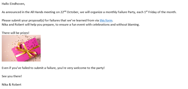Invitation email for the first Failure Party