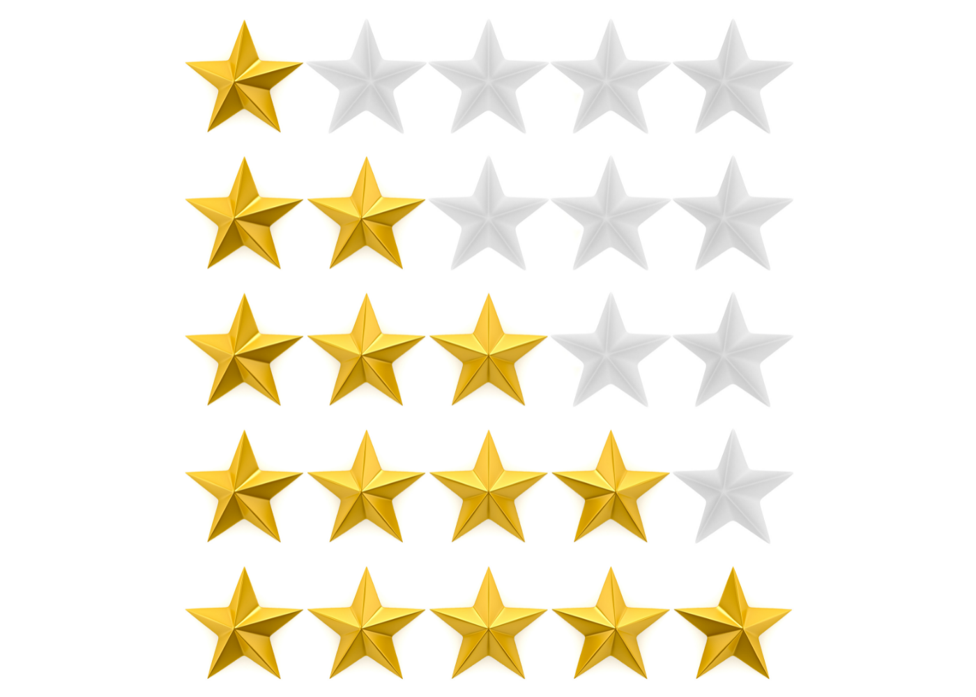 Stars on a review board.