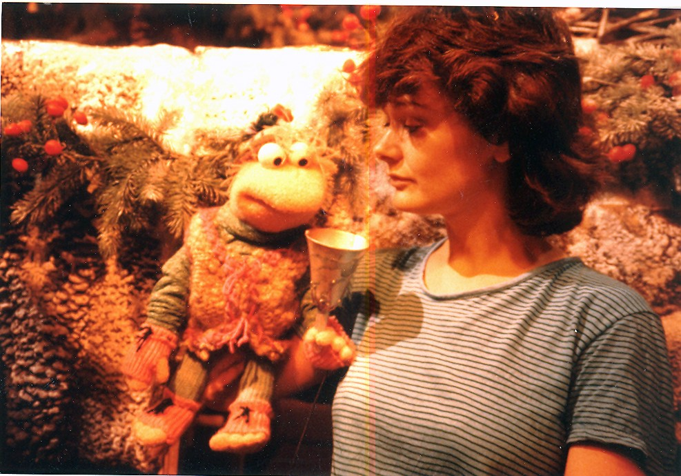 Puppeteer Lee Armstrong and Baby Fraggle on the set of Fraggle Rock