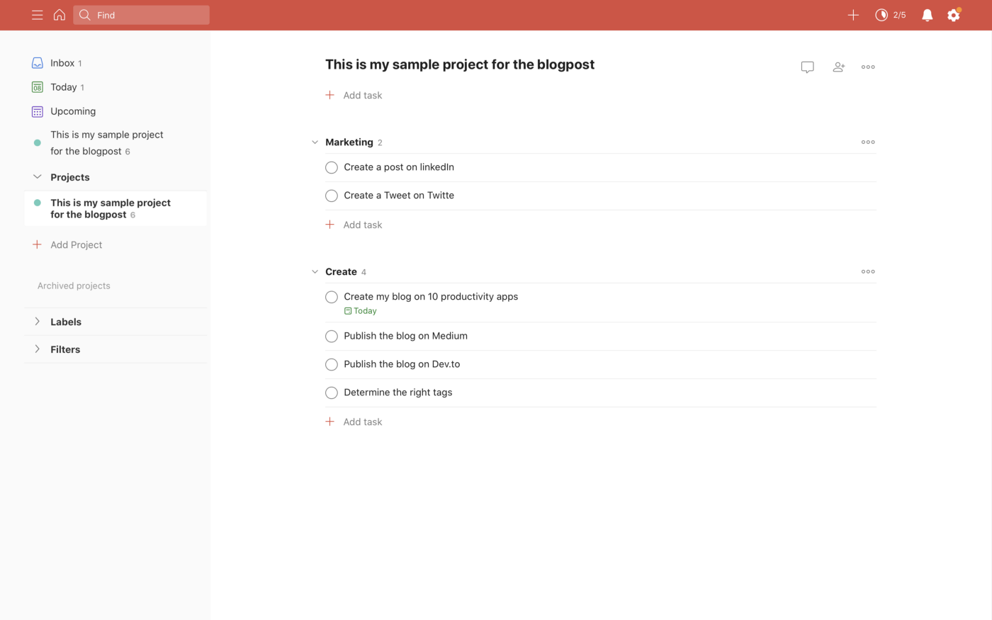 A sample project created in Todoist for optimal productivity.