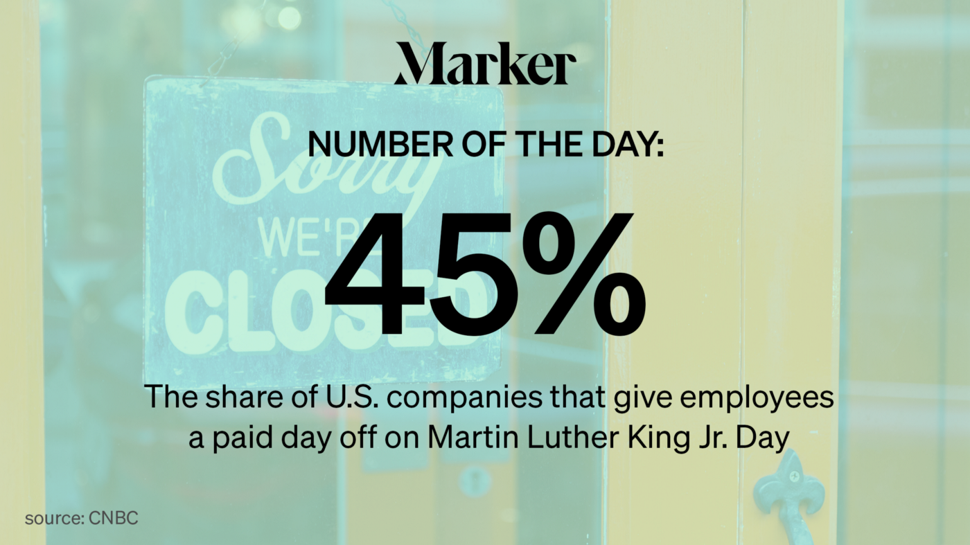 45%: The share of U.S. companies that give employees a paid day off on Martin Luther King Jr. Day. Source: CNBC
