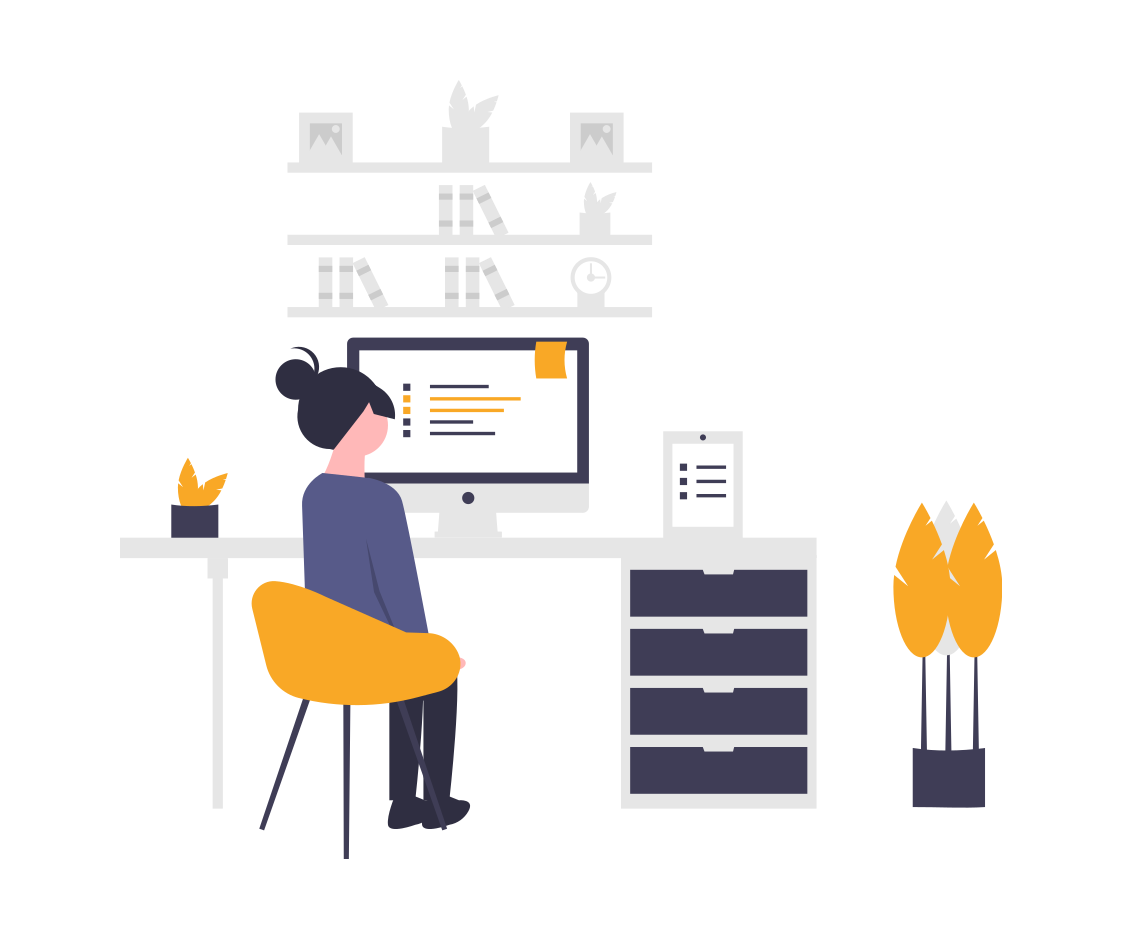 An illustration of a person sitting in front of a computer screen with a bookshelf behind it