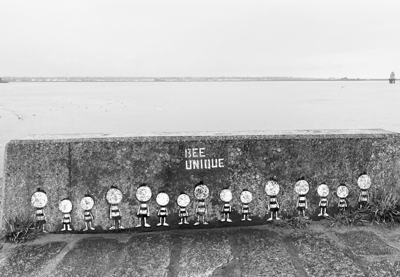 "Al line of bees that look like people, painted on a wall with ""Bee Uniquie"" written over them and sea in background"