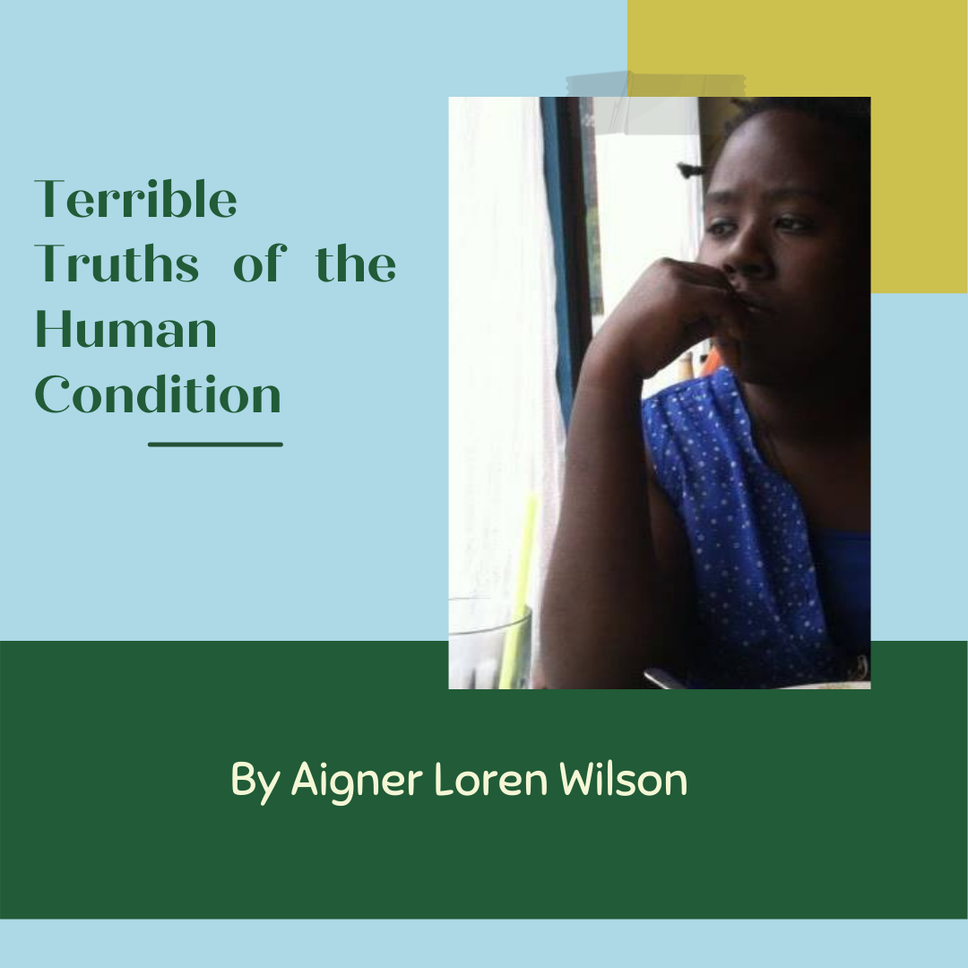 Terrible Truths of the Human Condition by Aigner Loren Wilson cover image. A blue, yellow, and green background. The words 'Terrible Truths of the Human Condition' are written beside a picture of the author looking sullen out of a window. At the bottom it reads: By Aigner Loren Wilson. Truths of the Human Condition. What is the human condition? What being a writer teaches you. Truths of a writer. Writing and the Human Condition. What writing teaches you about the human condition.