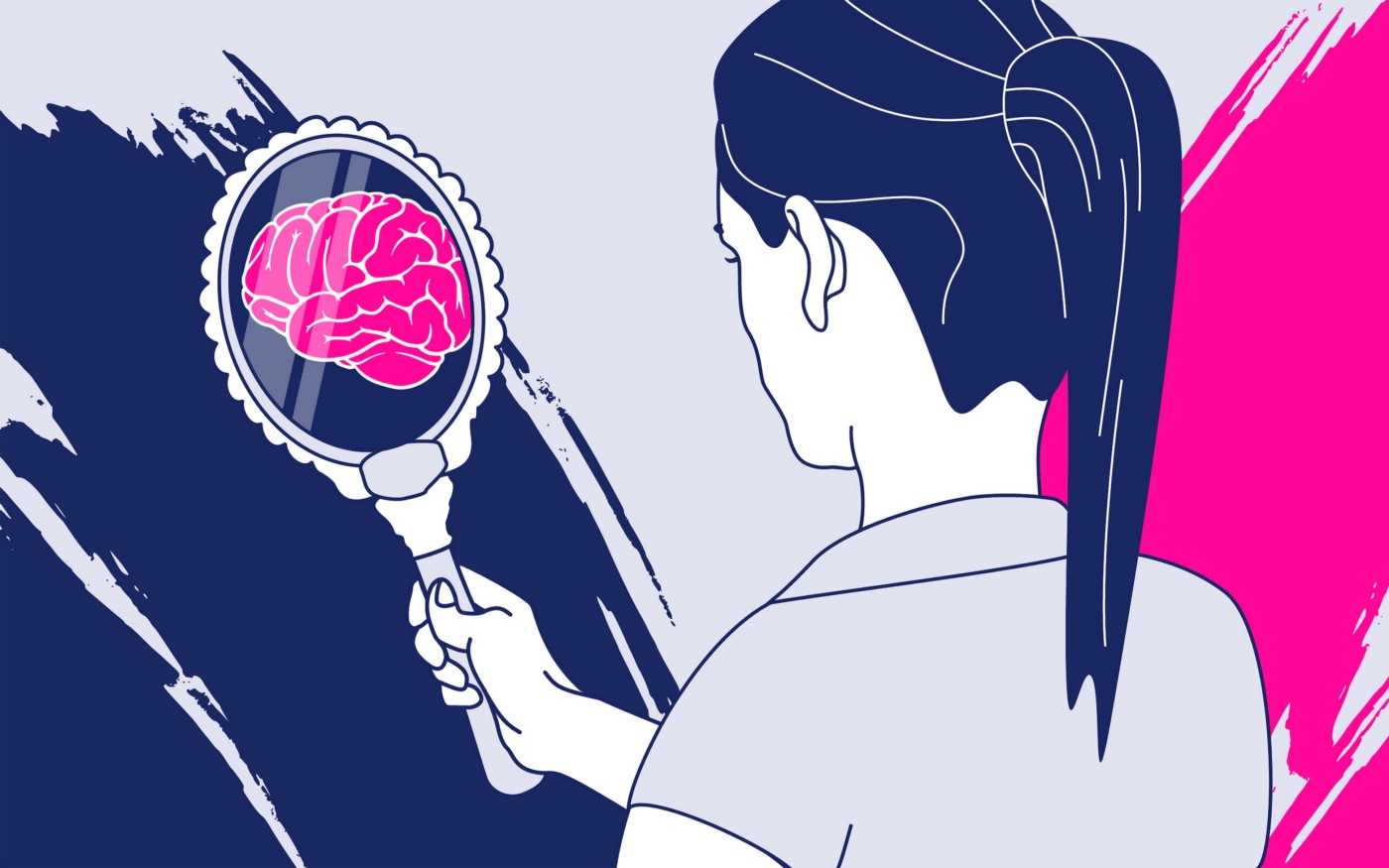 illustration of woman looking into mirror, with reflection of a brain