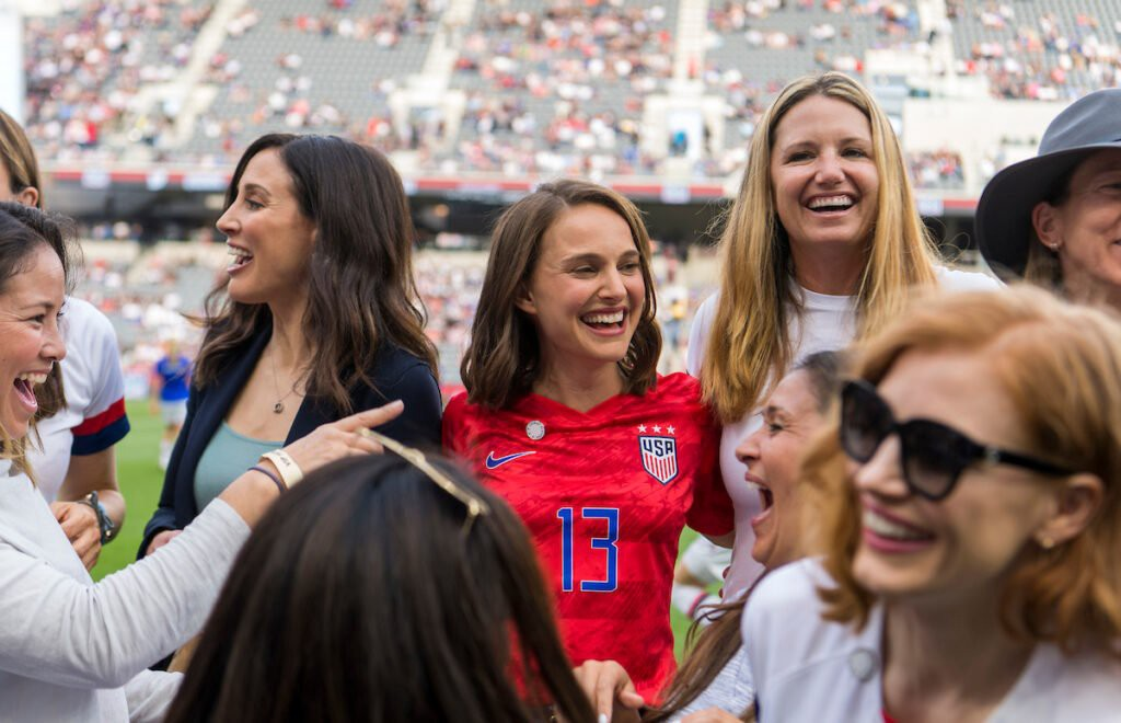Natalie Portman, Mia Hamm, and other LA NWSL expansion team owners on pitch in stadium