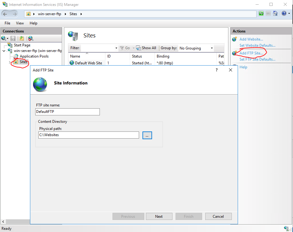 Allowing FTP access on Windows Server 2016 hosted on Microsoft Azure