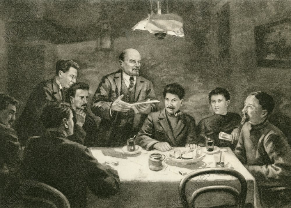 Pictured: A carbon portrait of the early Bolsheviks in a secret meeting.