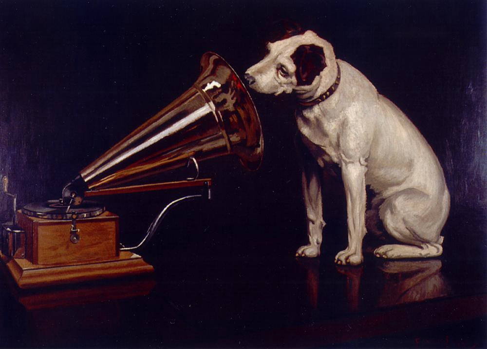 """Dog Looking at and Listening to a Phonograph, 'His Master's Voice', The Original RCA Music Puppy Dog Logo Symbol for Advertising"" by Beverly & Pack is licensed with CC BY 2.0."