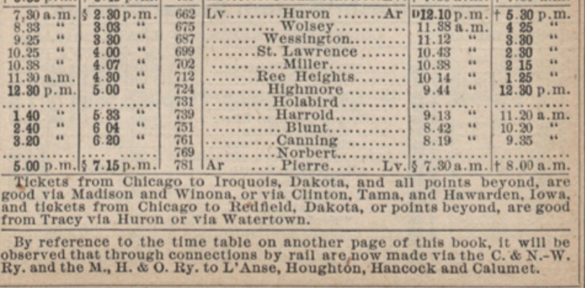 A detail from an 1884 time table for the Chicago and Northwestern Railway showing the times of the train going through central Dakota, including Huron, Wessington, and Miller.