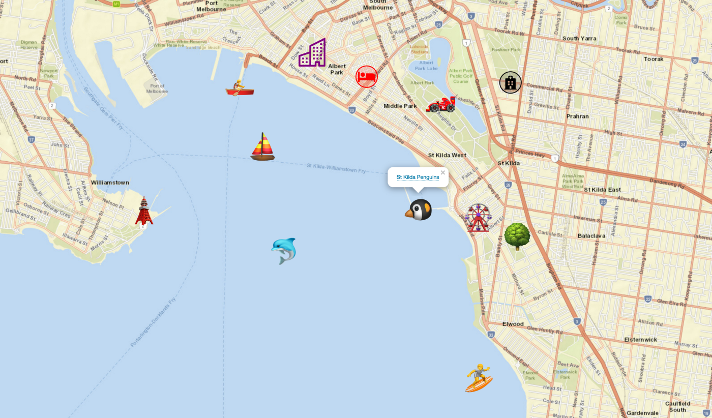 A Leaflet map made in Drupal, using emojis and font-icons as location markers.