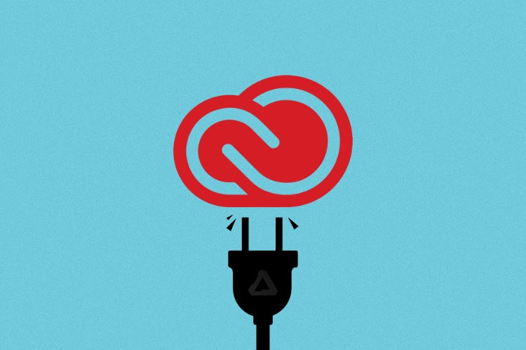"""""""Disconnecting from Adobe Creative Cloud"""" Adobe CC icon with unplug graphic"""