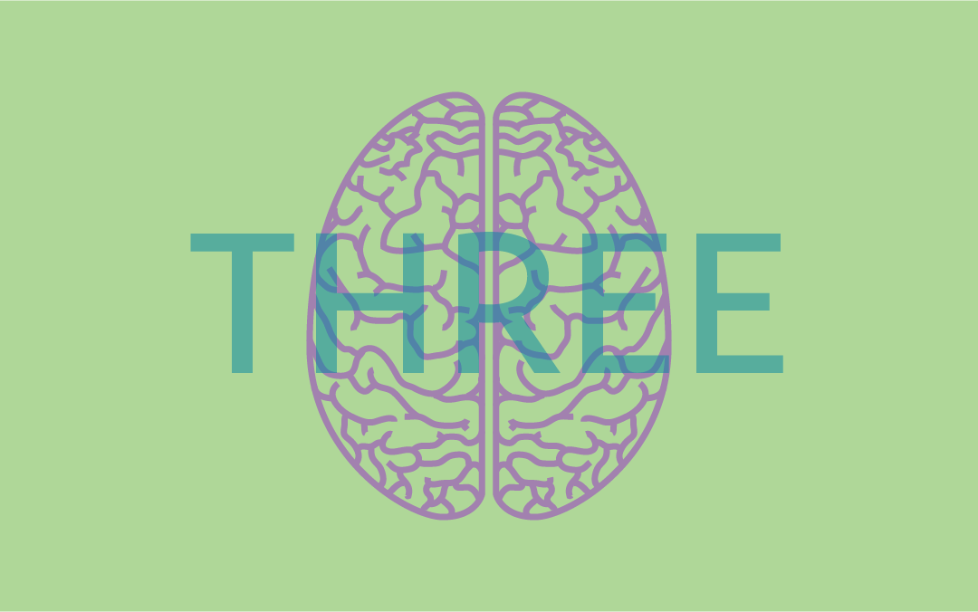 """A brain illustration by Jenelle Carter overlaid with the word """"three"""""""