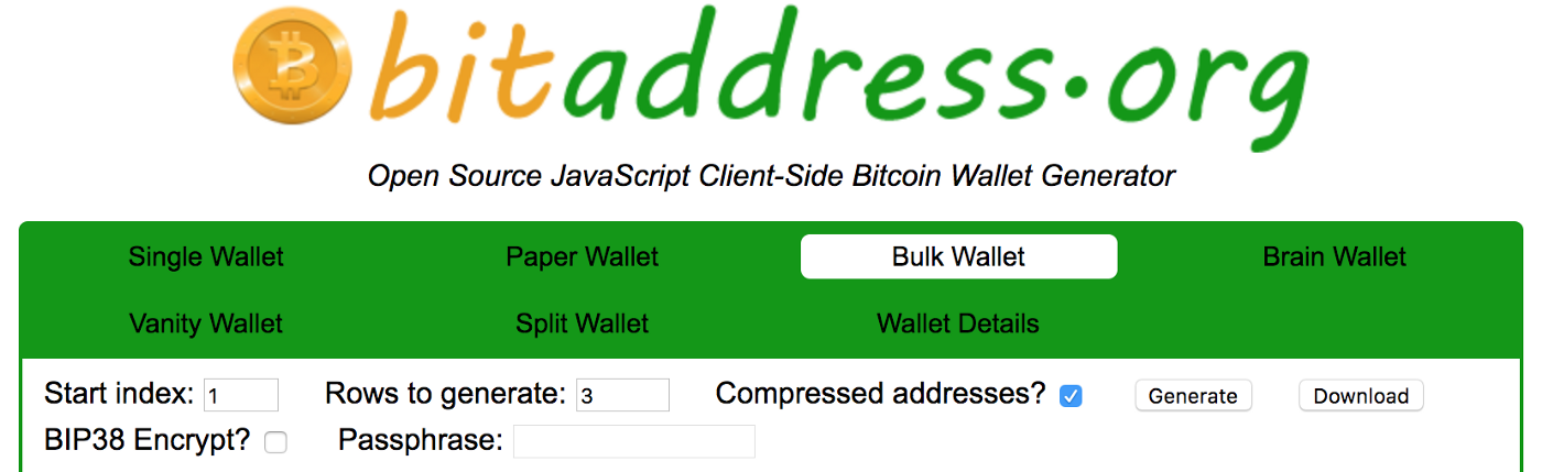 Generate and download thousands of Bitcoin wallets in a minute or two