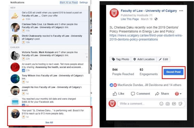 Screenshot of the boost post option on Facebook.