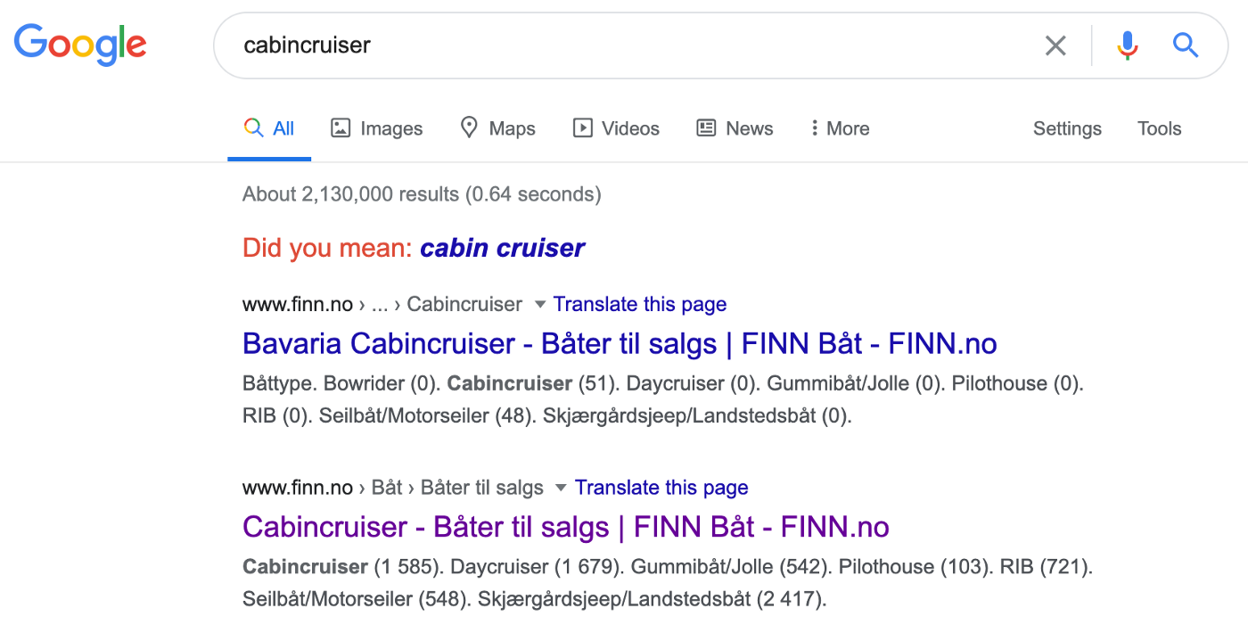 Screenshot from a google search for cabin cruisers. The first result is for Bavaria boats only, while the second is for all.