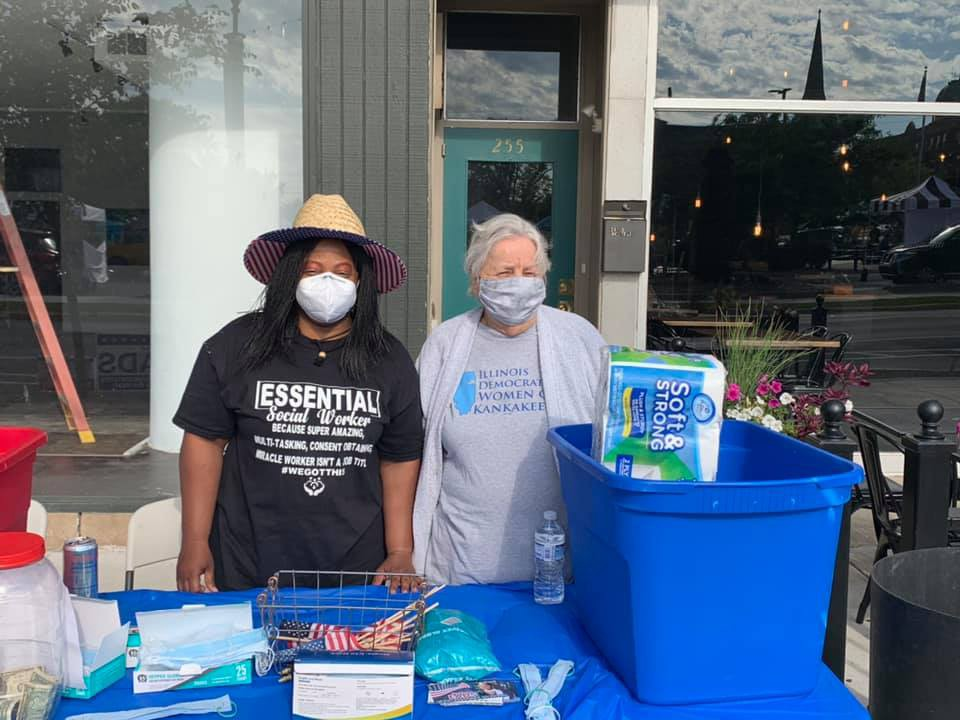 Candidate Charlene Eads (left) hosting a mask giveaway and Center of Hope toiletries drive.
