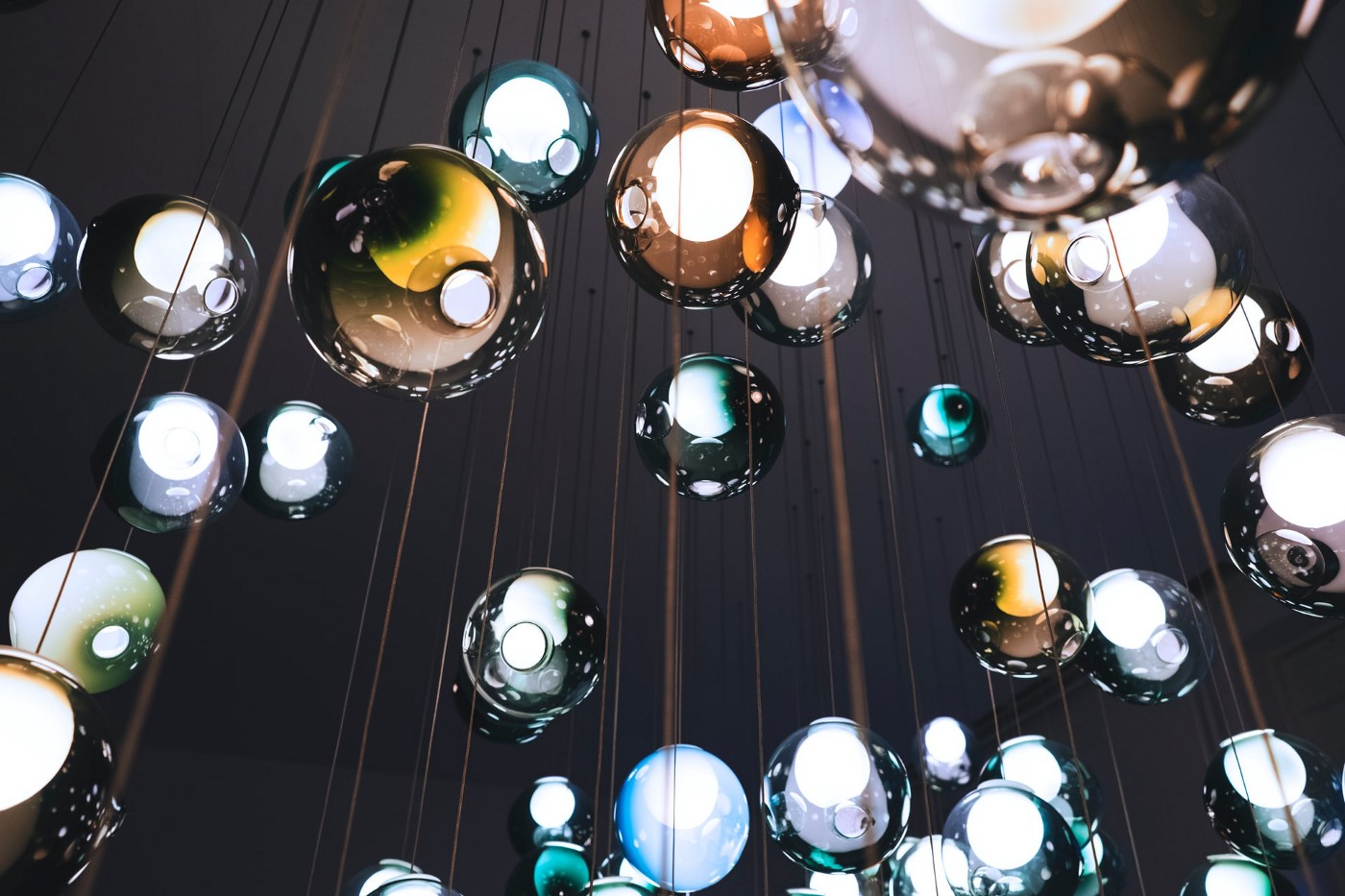 Glass balls hanging from a string