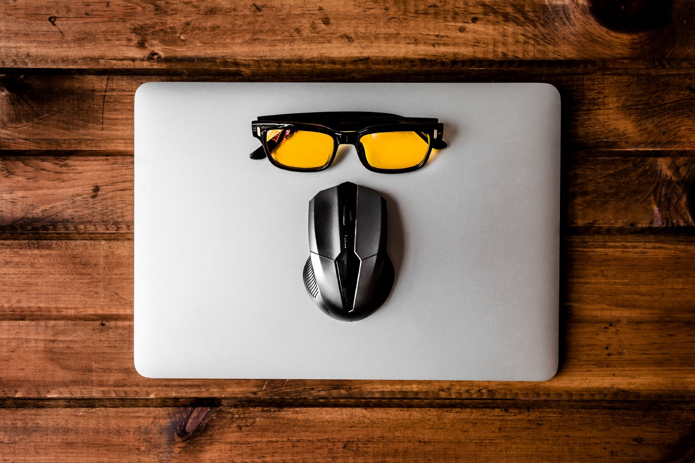 Sunglasses on a laptop