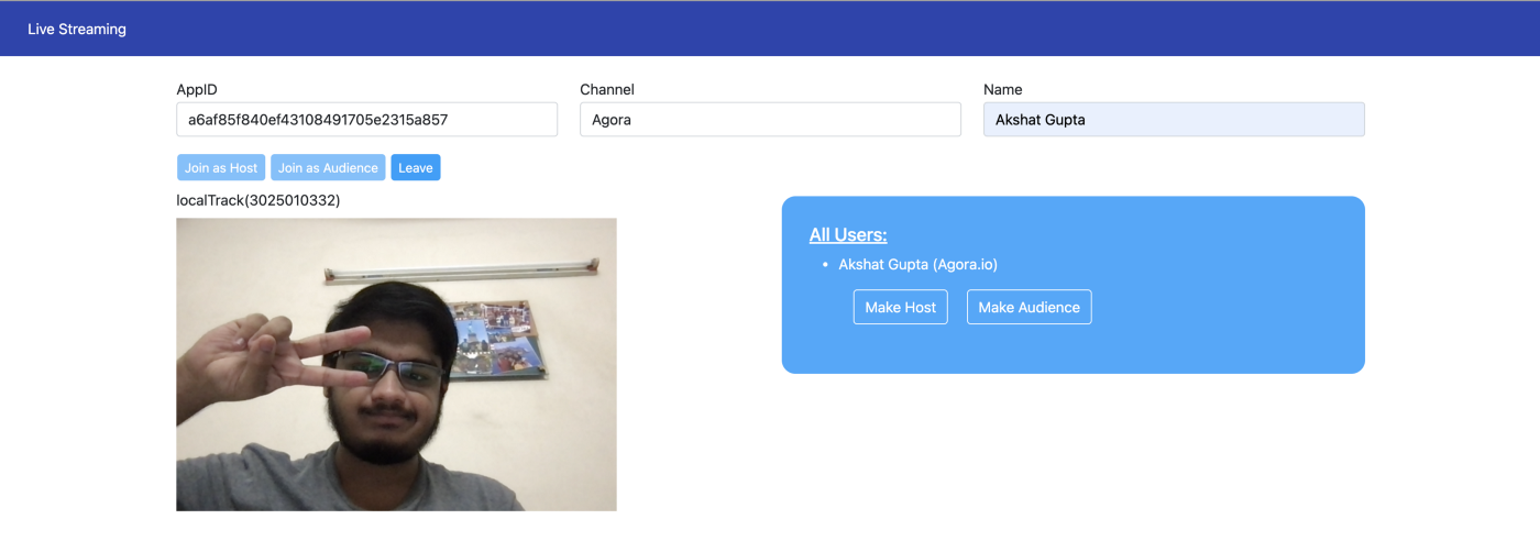 Screenshot of the live streaming application we will be developing.