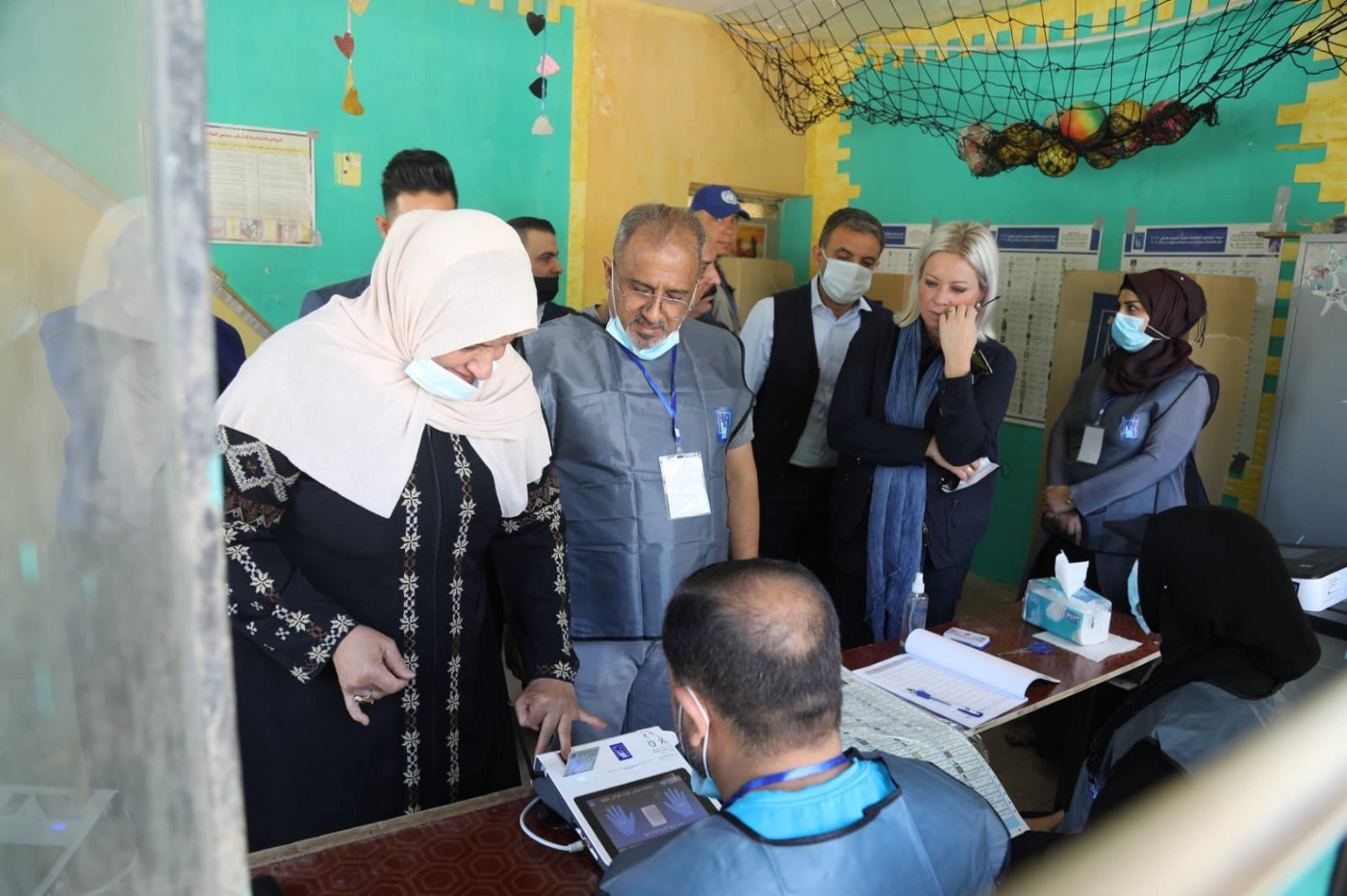 UN Special Representative for Iraq Jeanine Hennis-Plasschaert visiting a polling station in Adhamiyah in Baghdad on 10 October 2021.