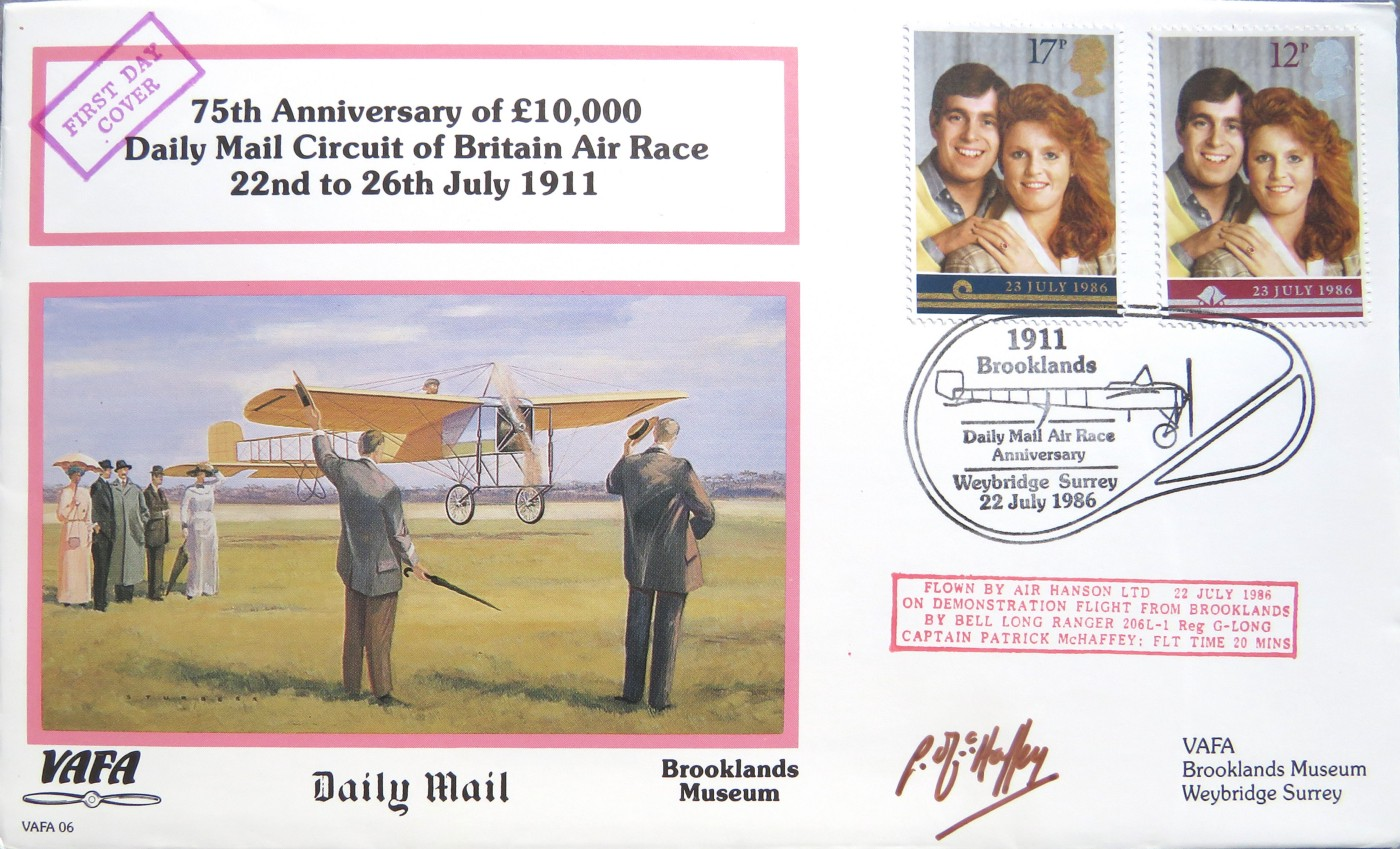 Image of a GB Postal First Day Cover depicting the 75th Anniversary of £10000 Daily Mail Circuit of Britain Air Race 22nd to 26th July 1911