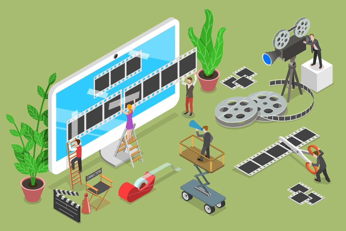 Cartoon image of people designing video for a landscape mobile device—video recording/shooting/cutting, and directing