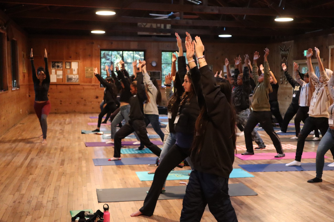 Yoga Instructor, Lonni RIvera leading her class at TSEP Overnight Camp