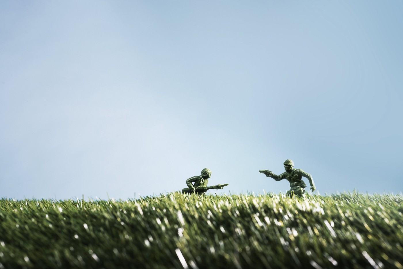 Toys soldiers in grass