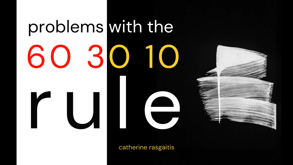 """A black and white background showing the words """"Problems with the 60 30 10 rule."""" The numbers are written in red and yellow. A white splatter of paint is displayed on the black area in the background."""