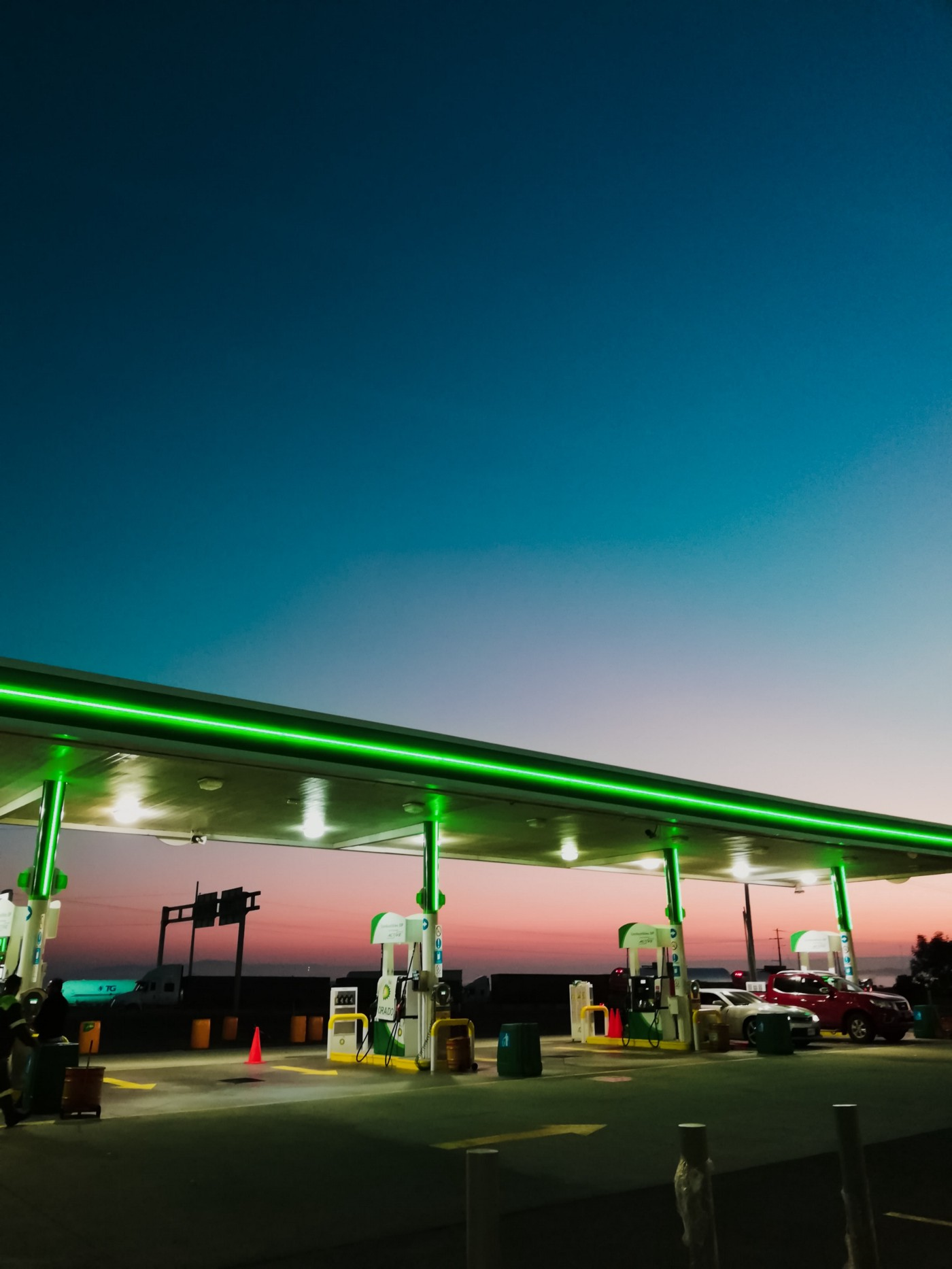 Gas station at dawn
