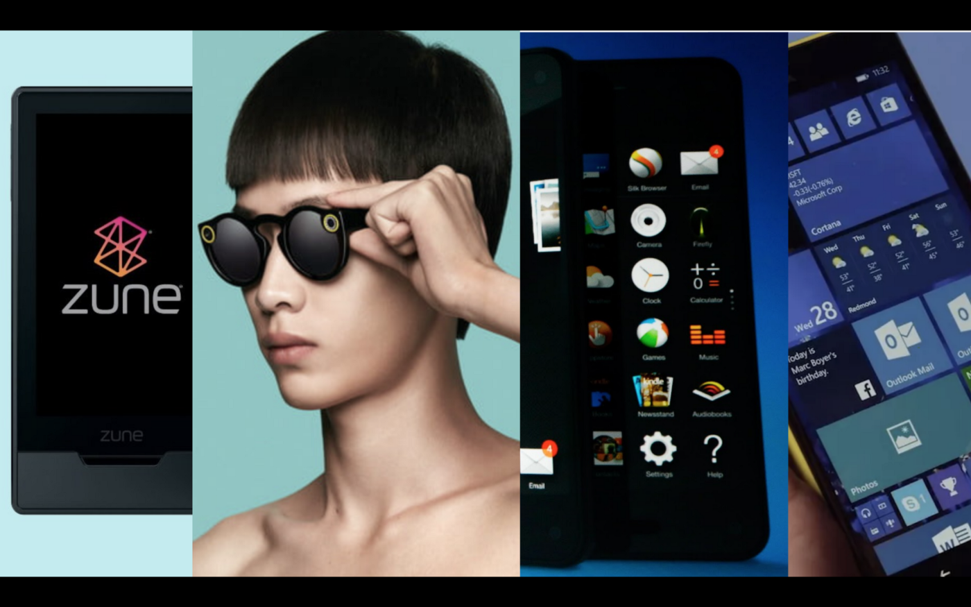 LTR: MS Zune, Snap Spectacles, Amazon Fire Phone, Windows Phone