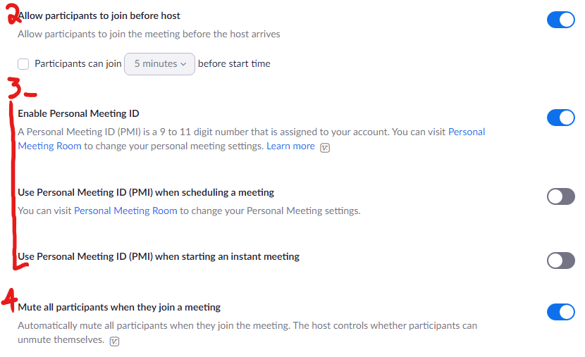 """A screenshot of the settings web page under """"Schedule Meeting"""""""