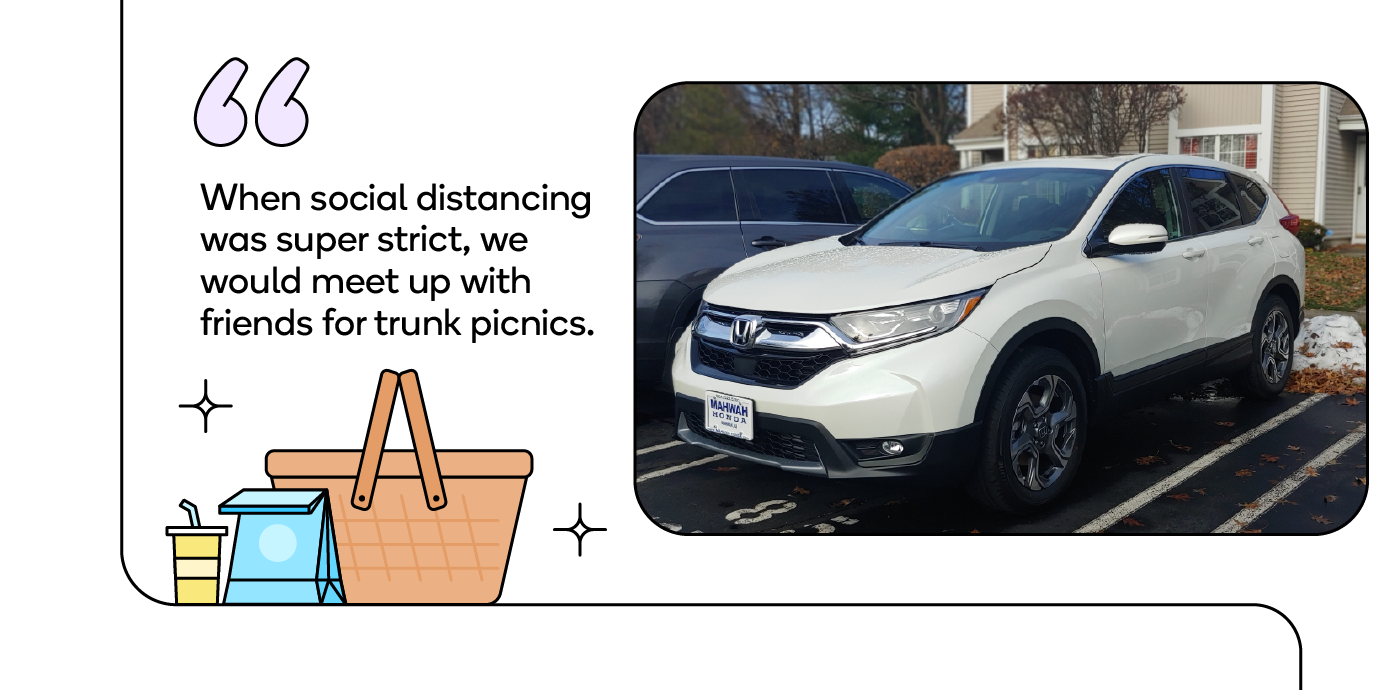 When social distancing was super strict, we would meet up with friends for trunk picnics.
