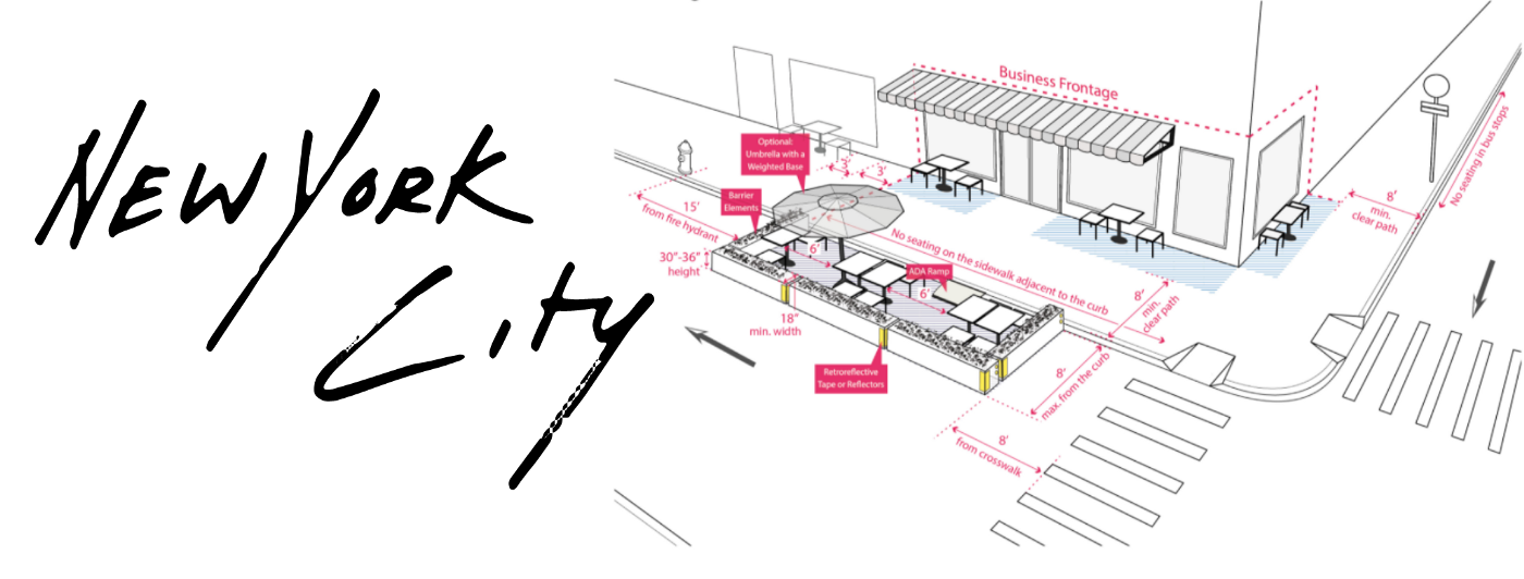 """A diagram of outdoor dining regulations next to a text reading """"New York City."""""""
