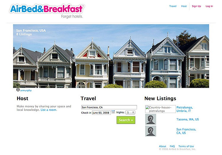 AirBnb's old website