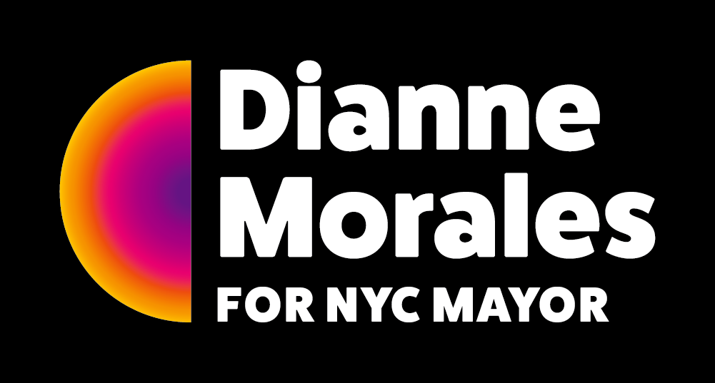 Dianne Morales' campaign logo, which says Dianne Morales for NYC Mayor in white next to a vertical semicircle with a gradient that fades from purple in the center to pink, then orange, then yellow. The logo is on a black background.