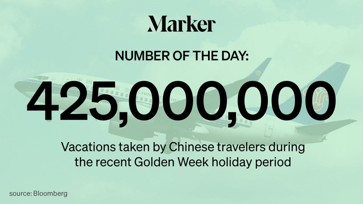 Marker Number of the Day: 425 million vacations taken by Chinese travelers during the recent Golden Week holiday period.