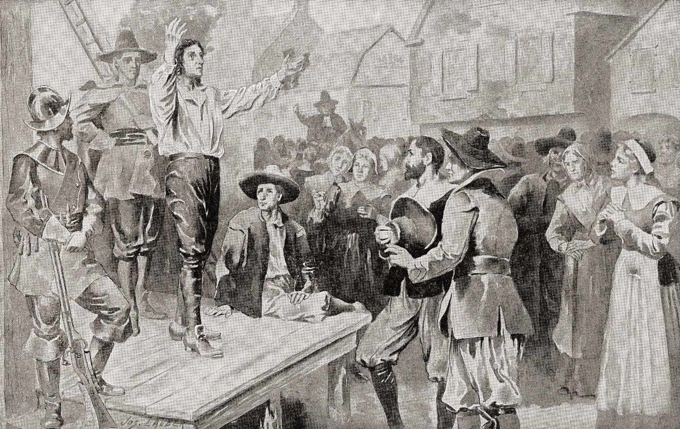George Burroughs (c.1652 –1690) reciting the Lord's Prayer before his execution at Witches Hill, Salem, Massachusetts, on 19