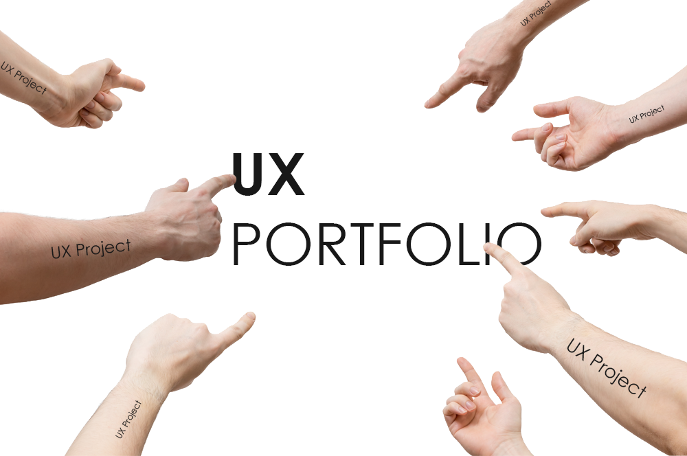 Fingers pointing to the words UX Portfolio.