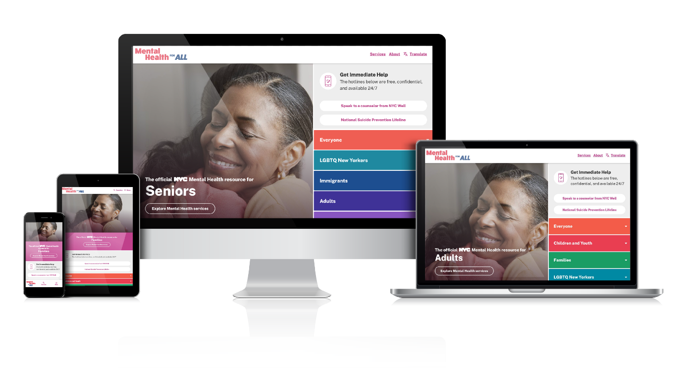 Desktop, laptop, and mobile devices with Mental Health for All homepage