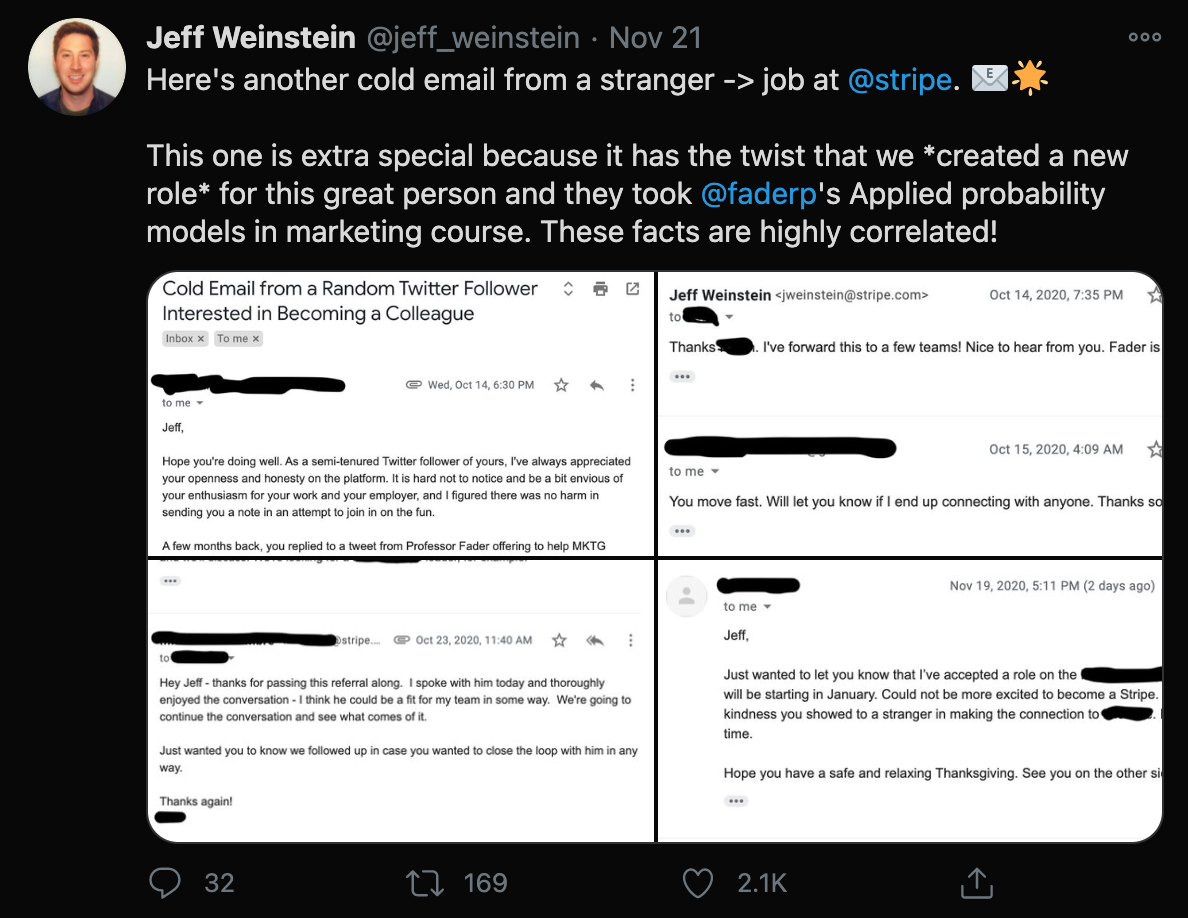 A tweet about cold emails.