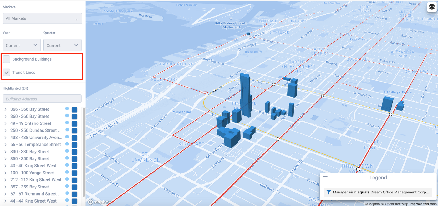 Background Buildings off, with Transit Lines on (Dream Office Portfolio)