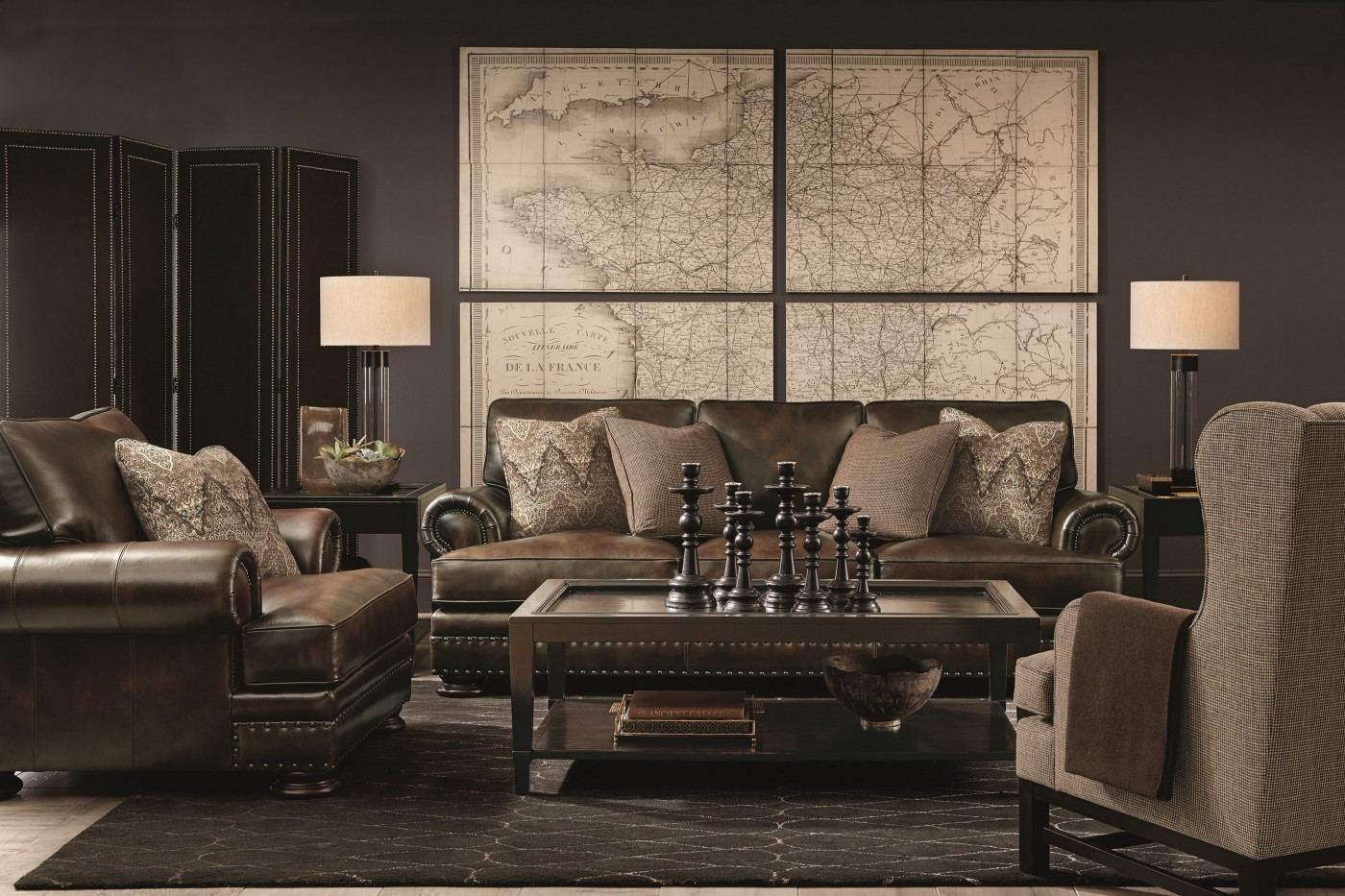 leather sofa living room with map on wall