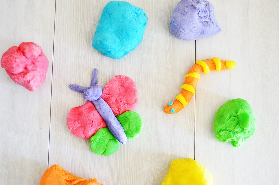 Colorful clay shaped into objects and creatures