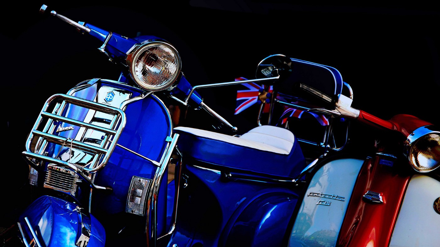 Vespa motorcycles as used by the mods