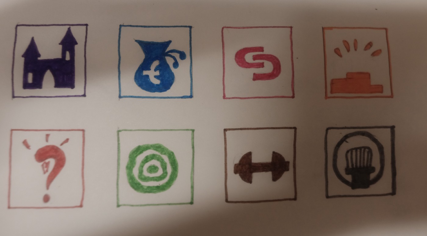 Icons representing home, money, collaboration, recognition intellectual stimulation, impact, health, communication