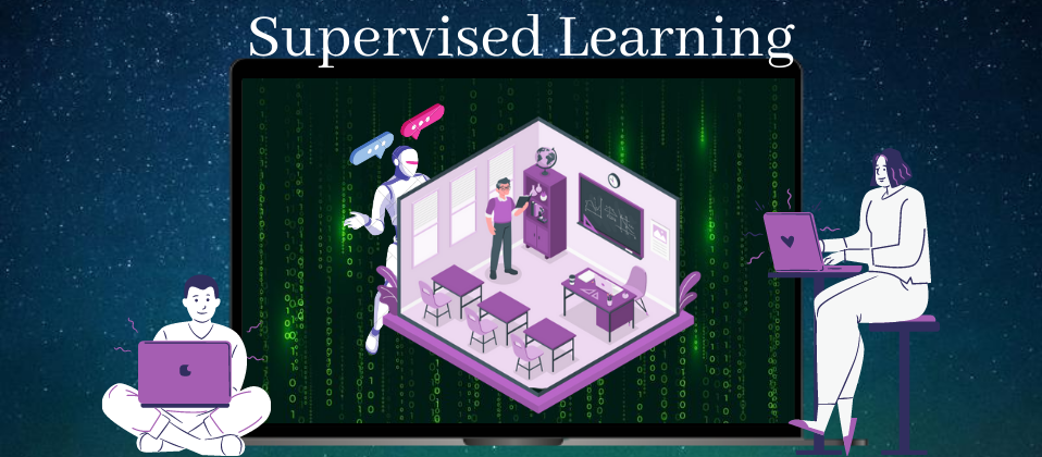 Depicts a classroom setup resembling to concept of supervised learning.
