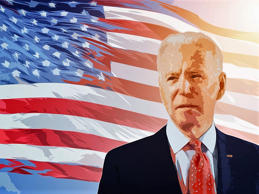 A colorized photo of Joe Biden with the American flag waving behind him