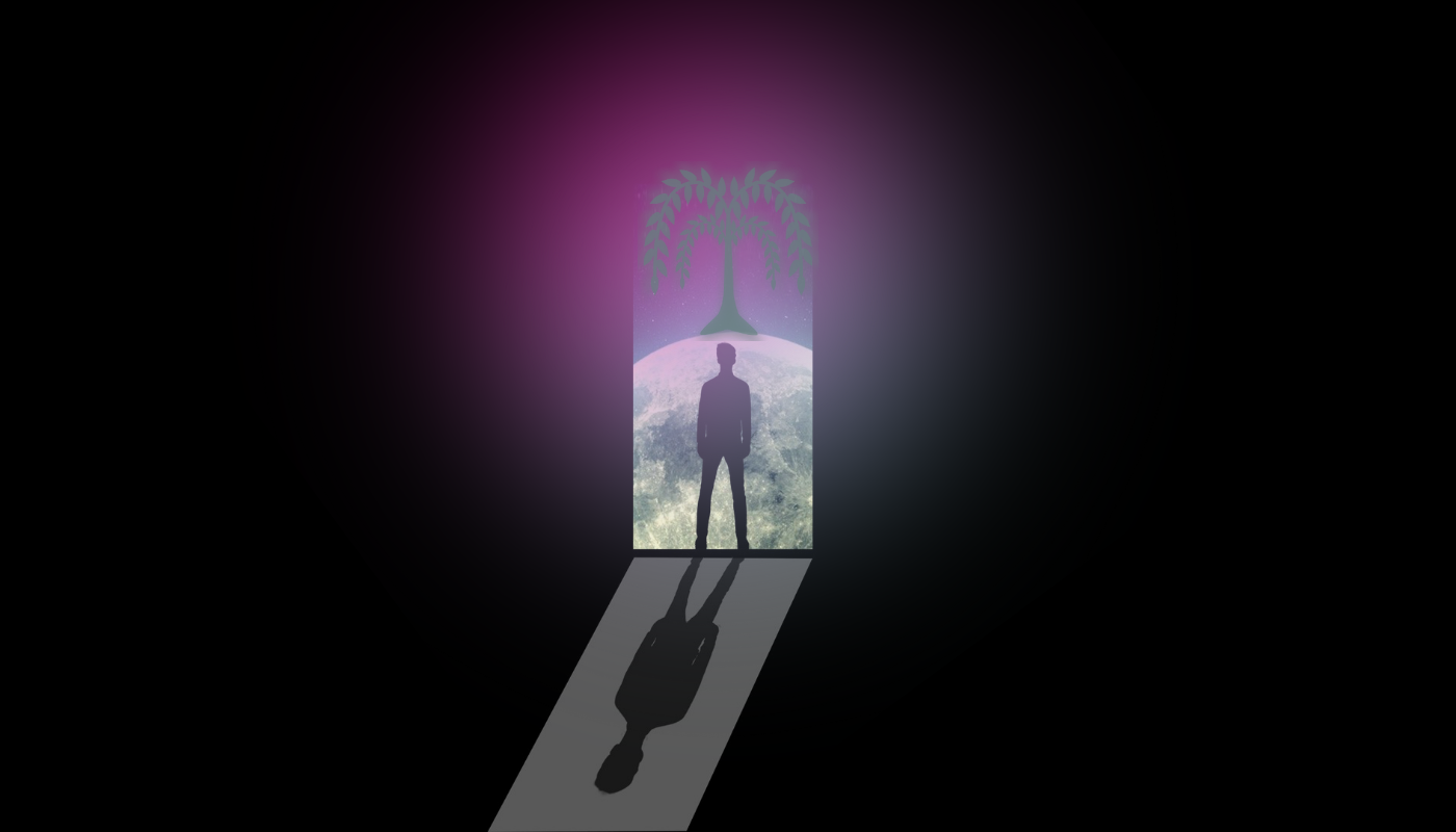 A man is silhouetted at the glowing, purple threshold of the Limen. Beyond, a silver willow looms over a moon-like landscape.
